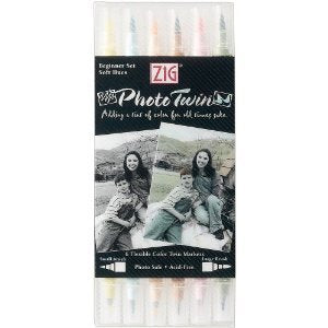 Zig Photo Twin Dual-Point Pen Beginner's Set Soft Hues TW-8000/6TG