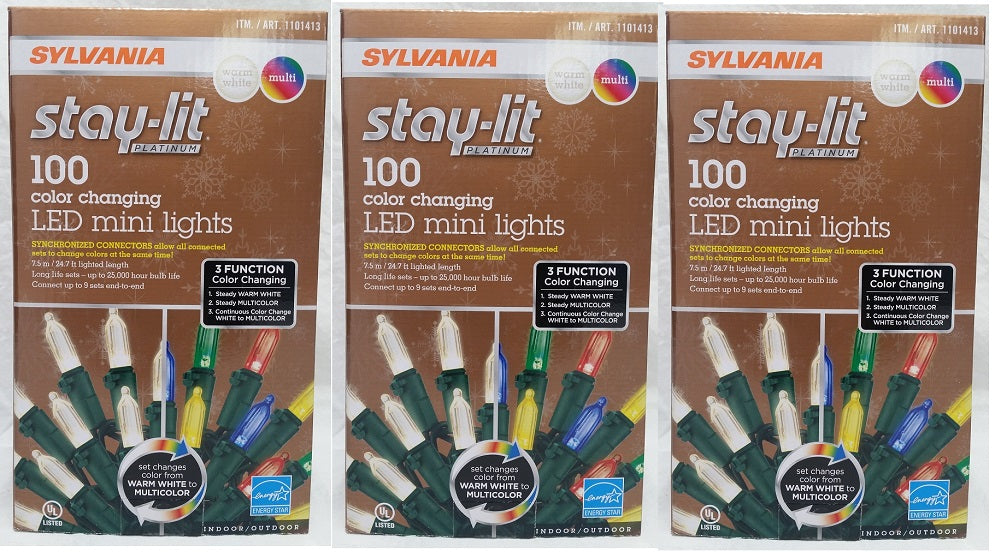 Stay-lit Platinum 300 Color Changing LED Mini Lights, Warm White/ Multi-Color
