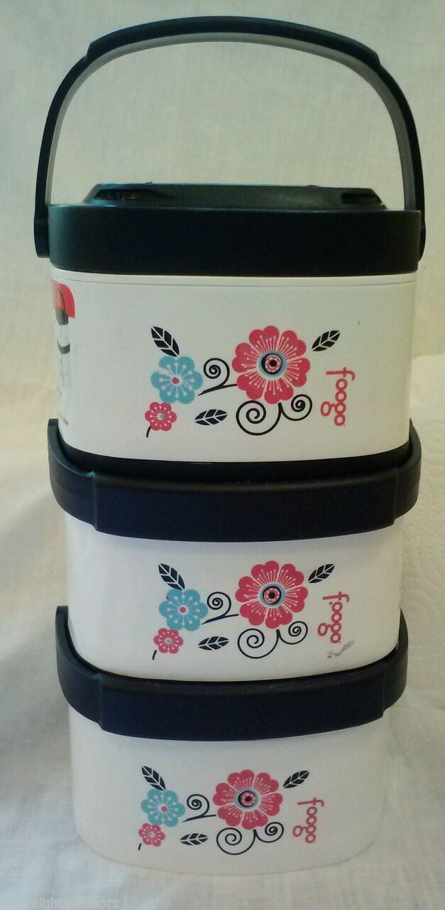 Thermos FOOGO Stack N Twist Lock Locking Poppy Patch 12 Ounce 3 Pack Containers