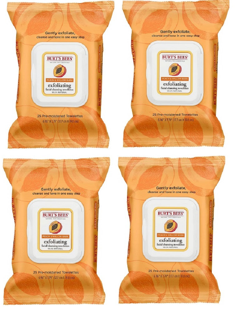 Burt's Bees Peach and Willow Bark Facial Cleansing Towelettes - 25 ct (4 Pack)