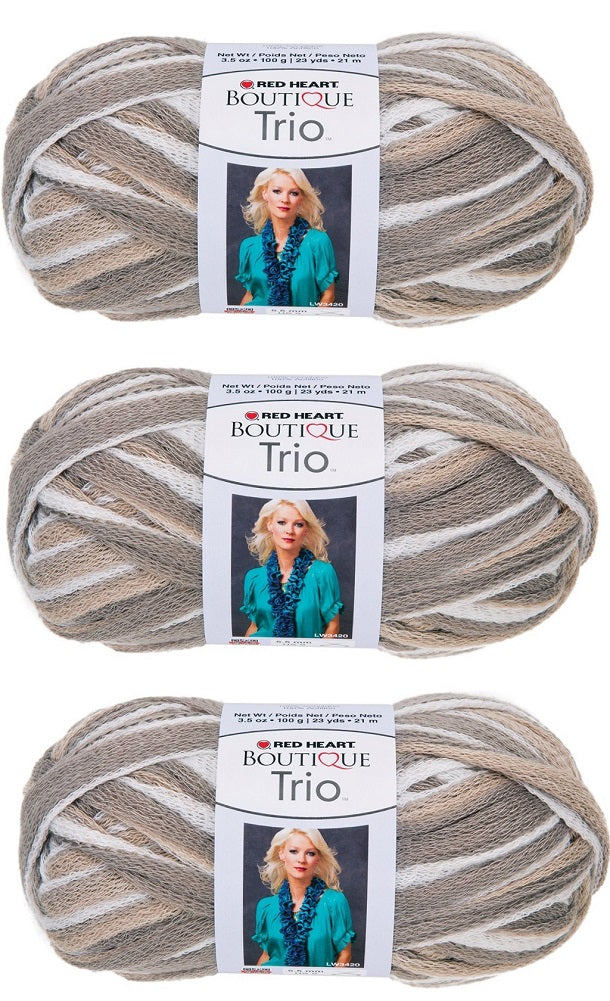 Bulk Buy: Red Heart Boutique Trio Yarn (3-Pack) Shale E809-9939