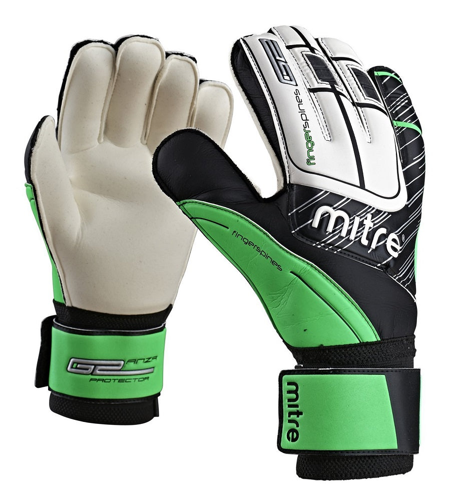Mitre ANZA G2 Protector Soccer Goalkeeper Gloves, Green & Black, Size 10