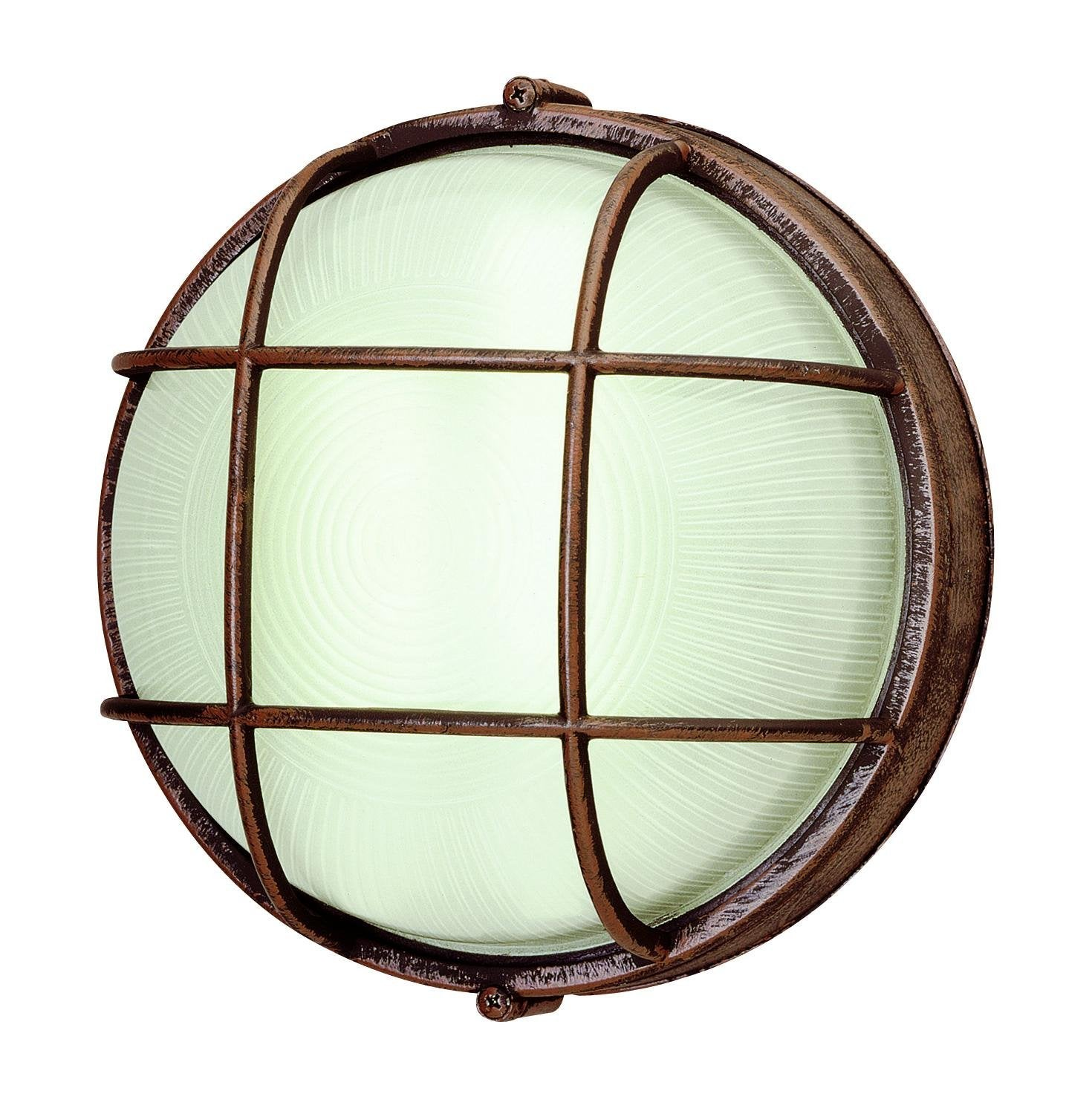 Trans Globe One Light Rust Frosted Round, Sunburst Ribbing Glass Marine Light