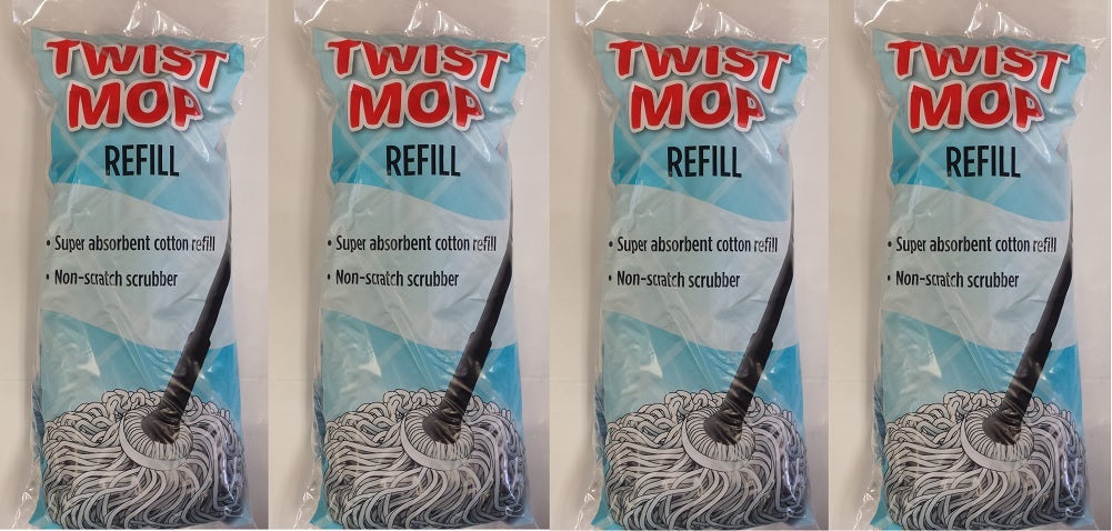 Twist Mop Refill, Blue 4-Pack