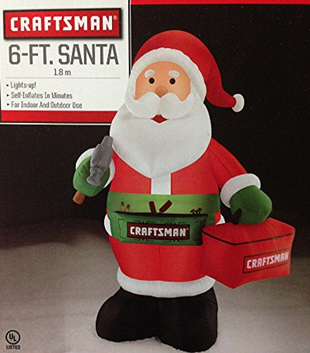 Christmas Inflatable 6 FT Craftsman Carpenter Santa with Hammer Toolbox & Apron