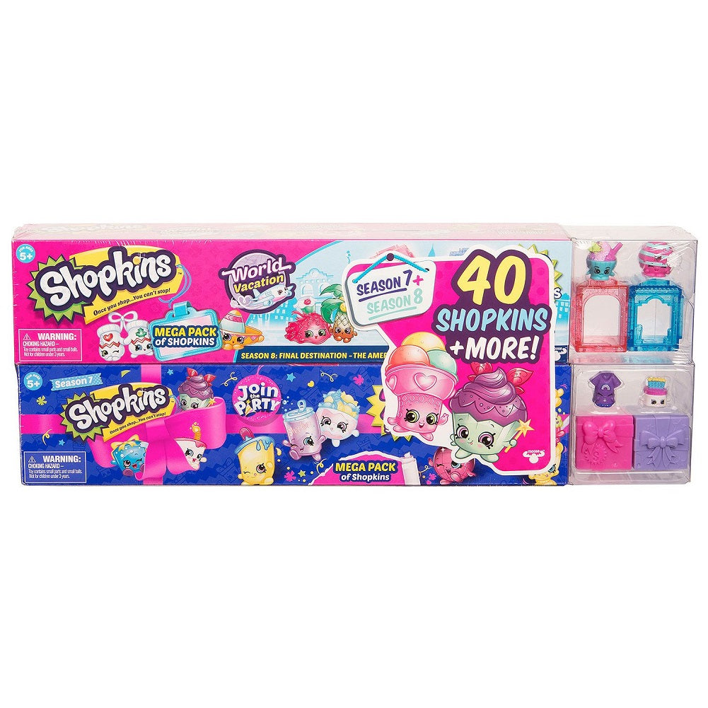 Shopkins Mega Pack Bundle of 2, Season 7 Party & 8 World Vacation (Asia), 40 Shopkins