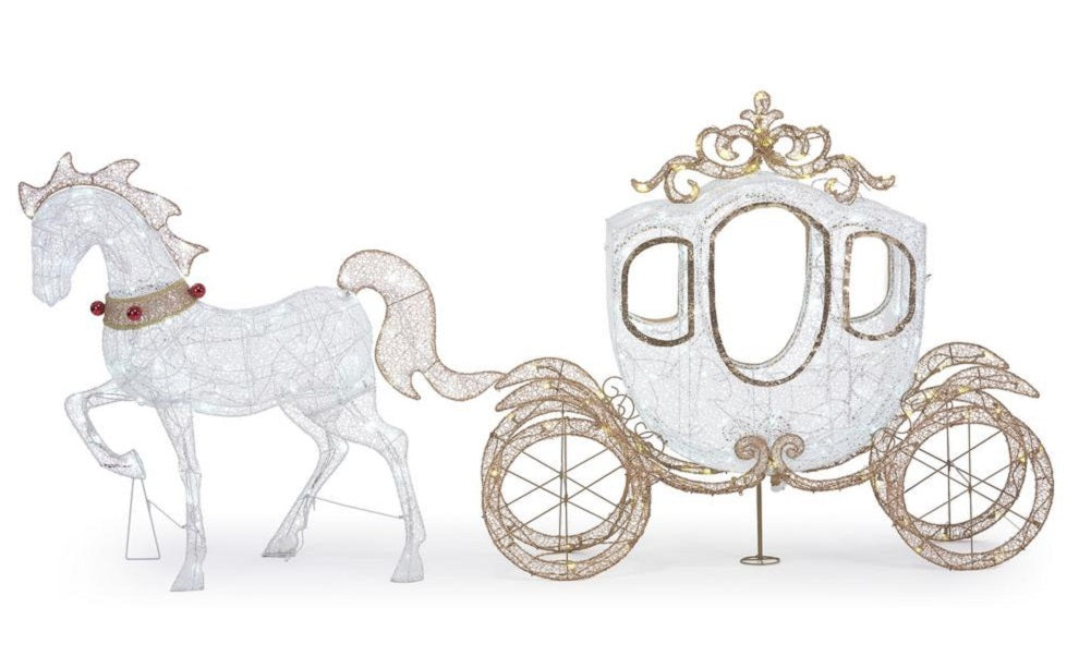 Home Accents Holiday 58 in 180-Light LED Carriage with 43 in LED Horse
