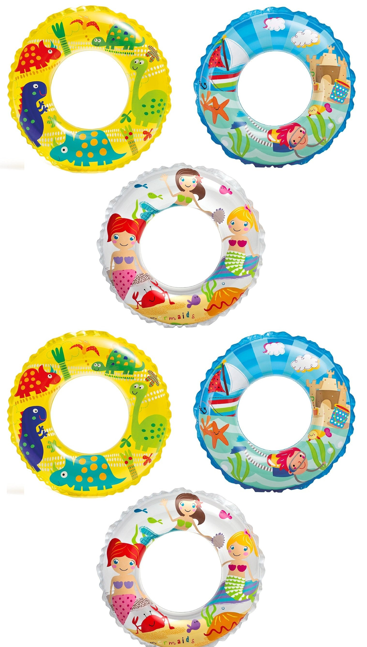 Intex Recreation 59242EP Ocean Reef Transparent Rings, Pack of 6