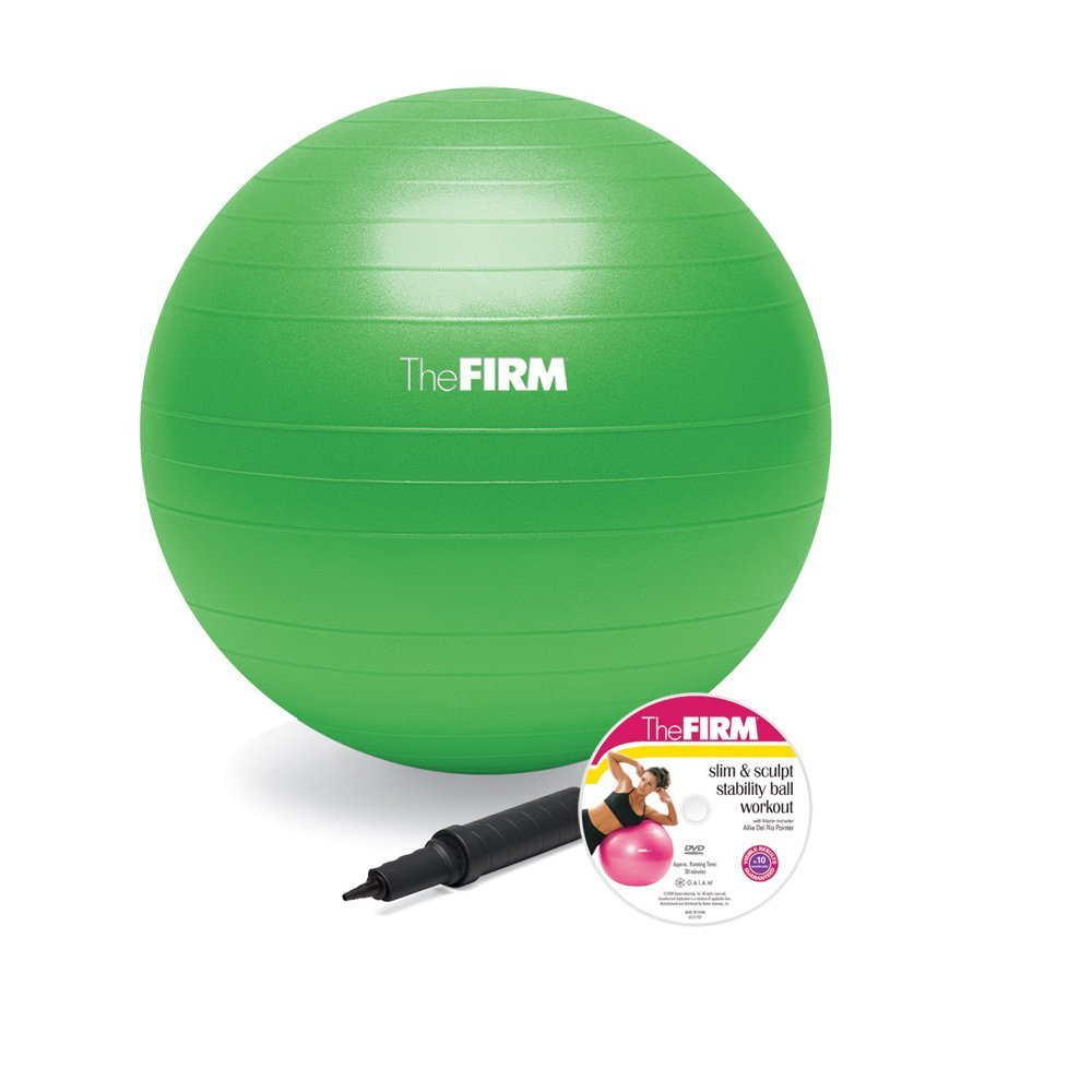 The Firm Slim and Sculpt Stability Ball with DVD, Green (65cm)
