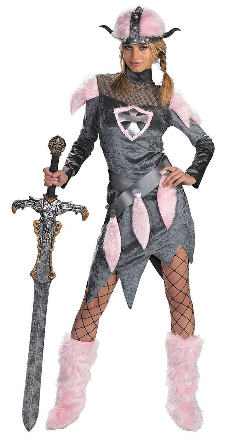 Disguise Unisex Adult Barbarian Babe, Grey/Pink, Large (12-14) Costume