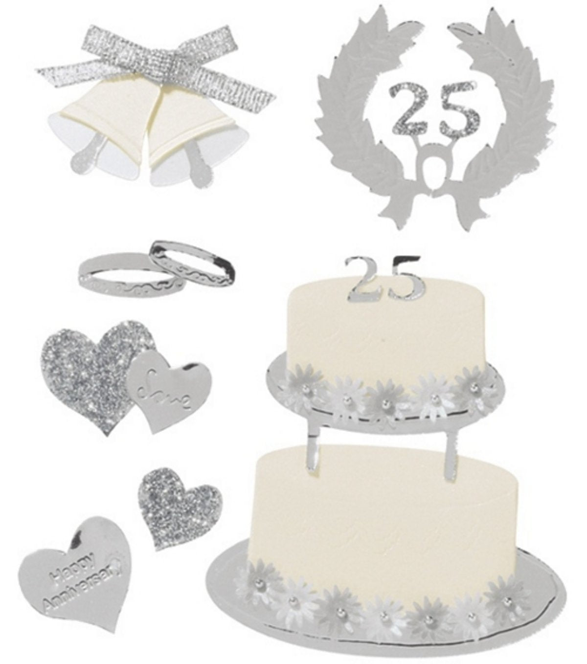Boutique Themed Ornate Stickers Silver Anniversary