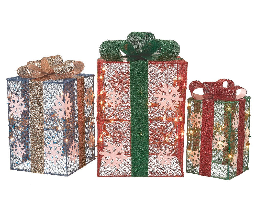 "Holiday Time Light-Up Set of 3 Gift Boxes 10"", 12"" & 14"""