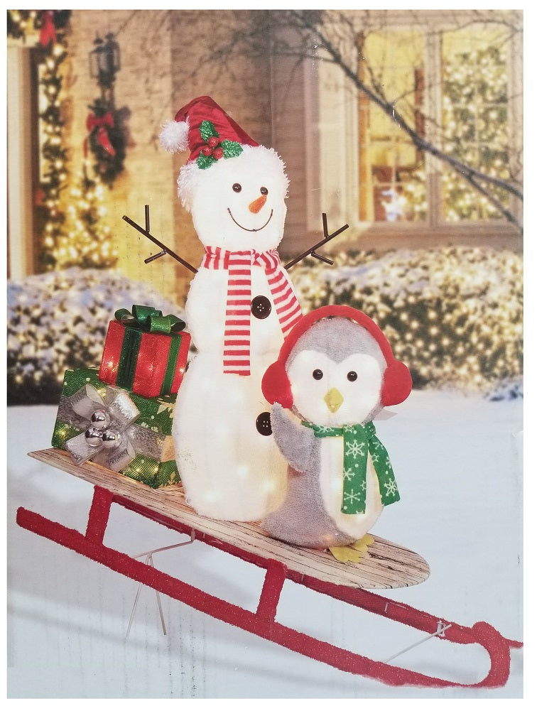 Holiday Time Christmas Light-Up Plush Snowman & Penguin On Sleigh 42""