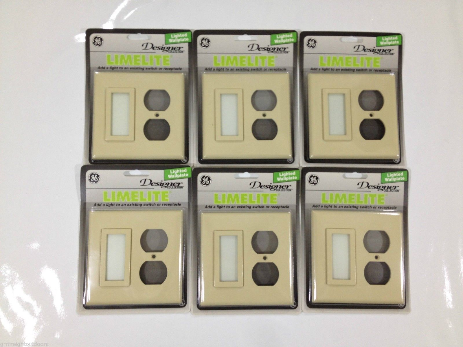 GE Designer Collection Lighted Outlet Cover Wallplate Switch Receptacle 6 Pack