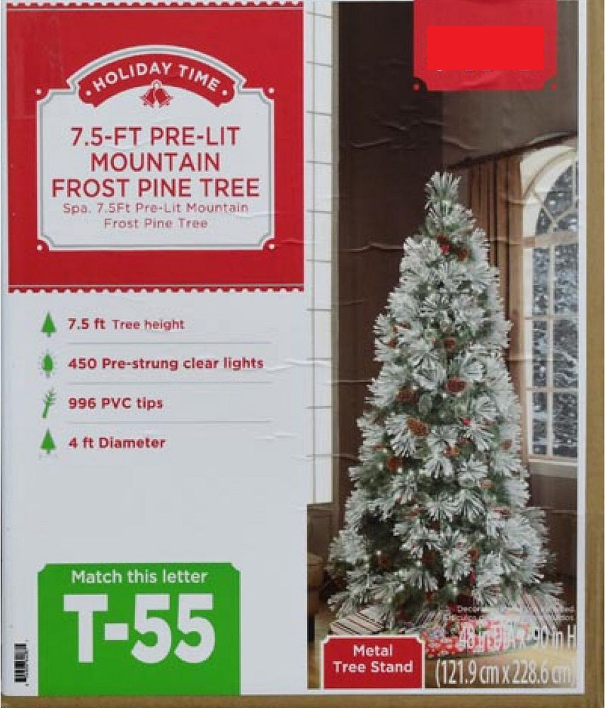 Holiday Time Christmas Tree.Holiday Time 7 5 Ft Pre Lit Mountain Frost Pine Tree Flocked