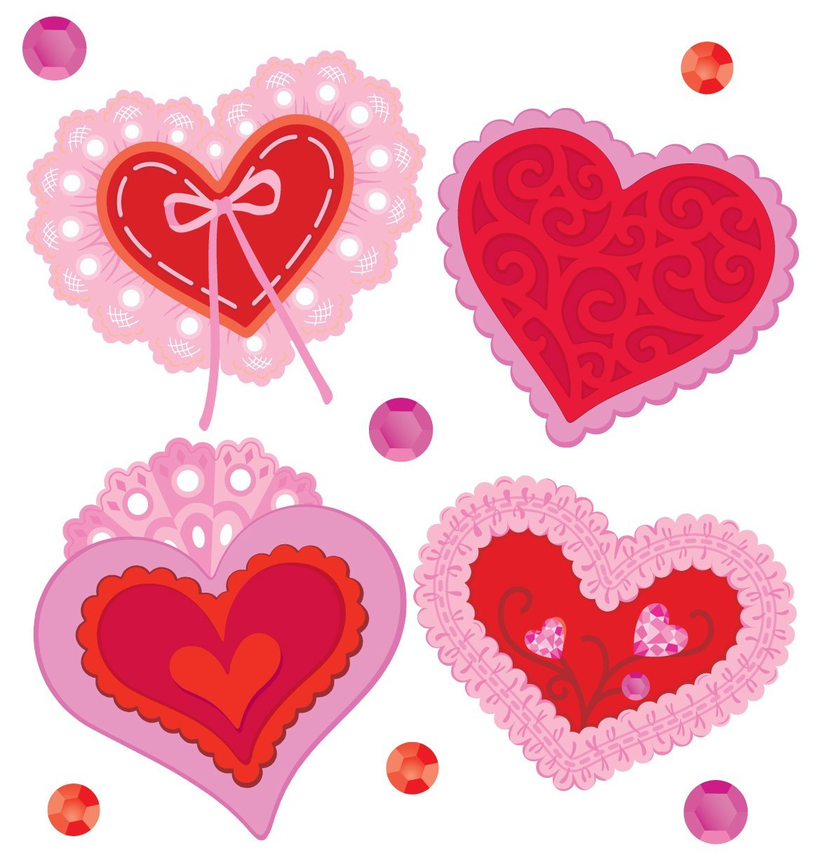 Jolee's Boutique Lace Hearts Dimensional Stickers