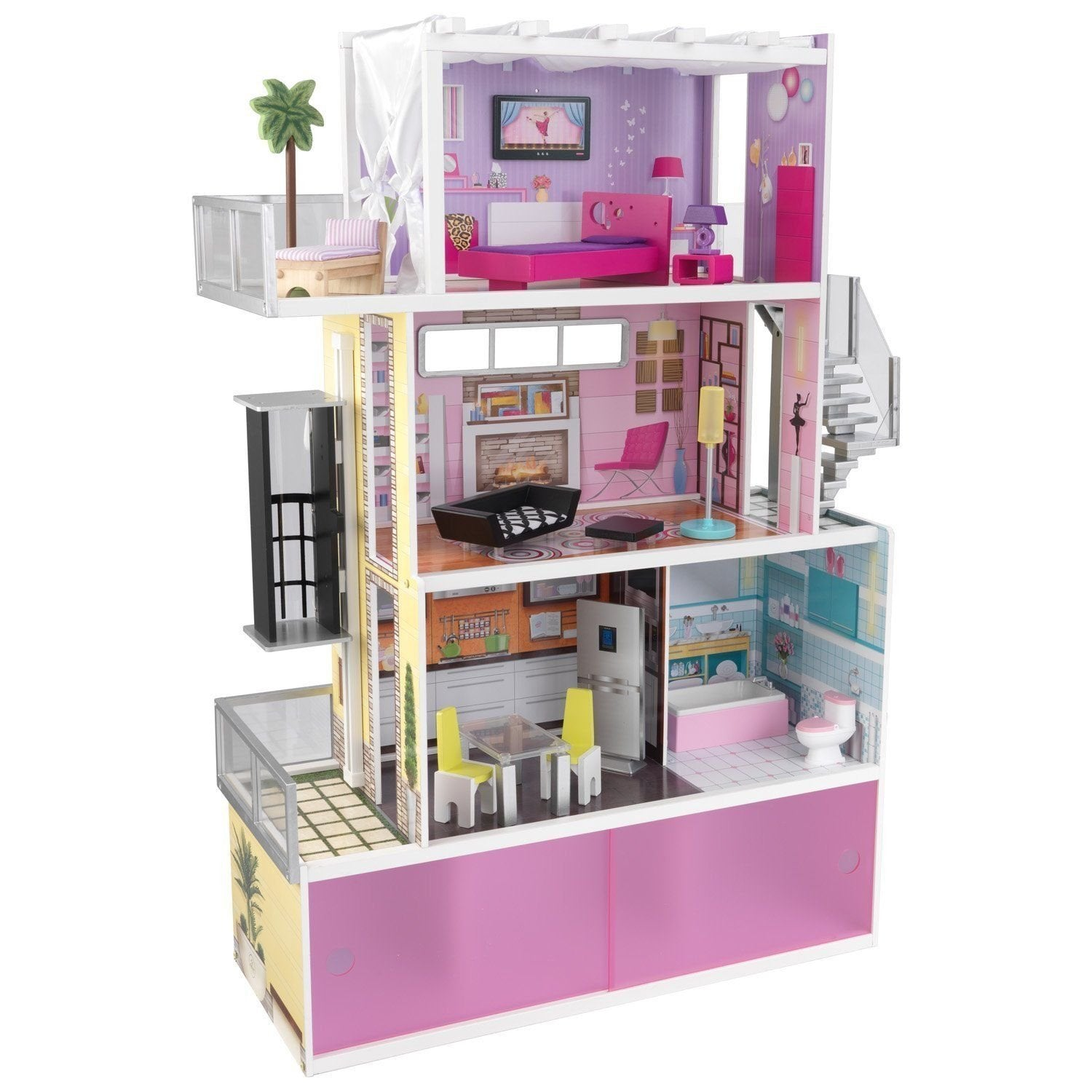 "KidKraft Wooden Beachfront Mansion w 14 Furnitures Kids Doll House for 12"" Doll"
