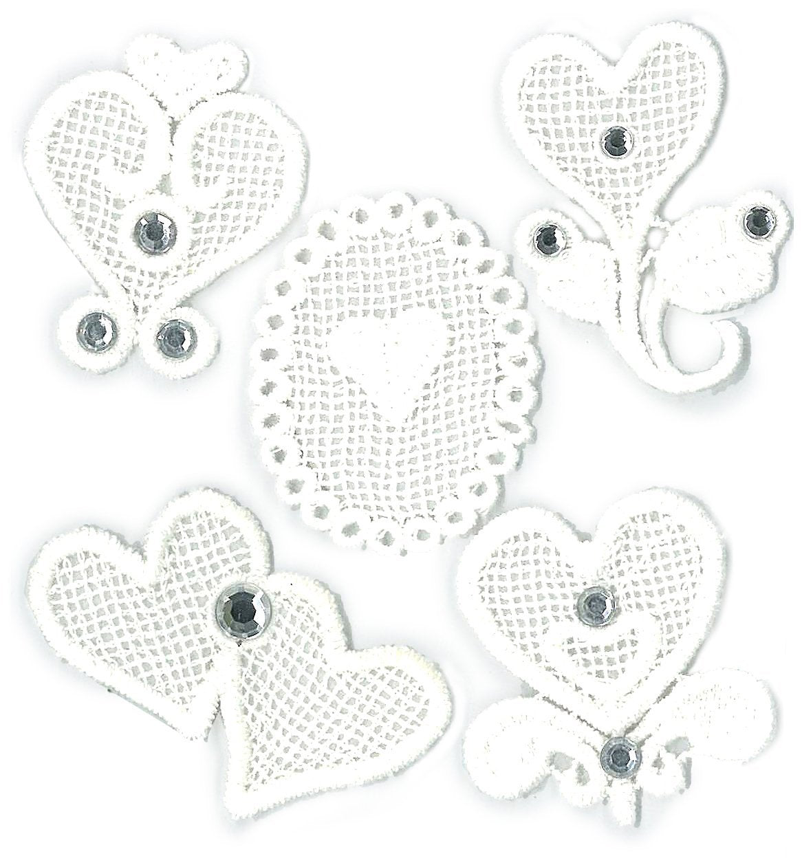 Jolee's Boutique Parcel Embroidered Hearts Dimensional Stickers