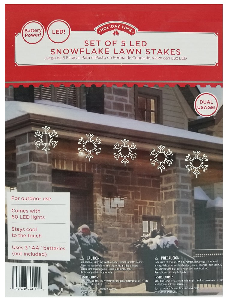Holiday Time Set of 5 LED Snowflake Lawn Stakes Dual Usage Battery-Powered