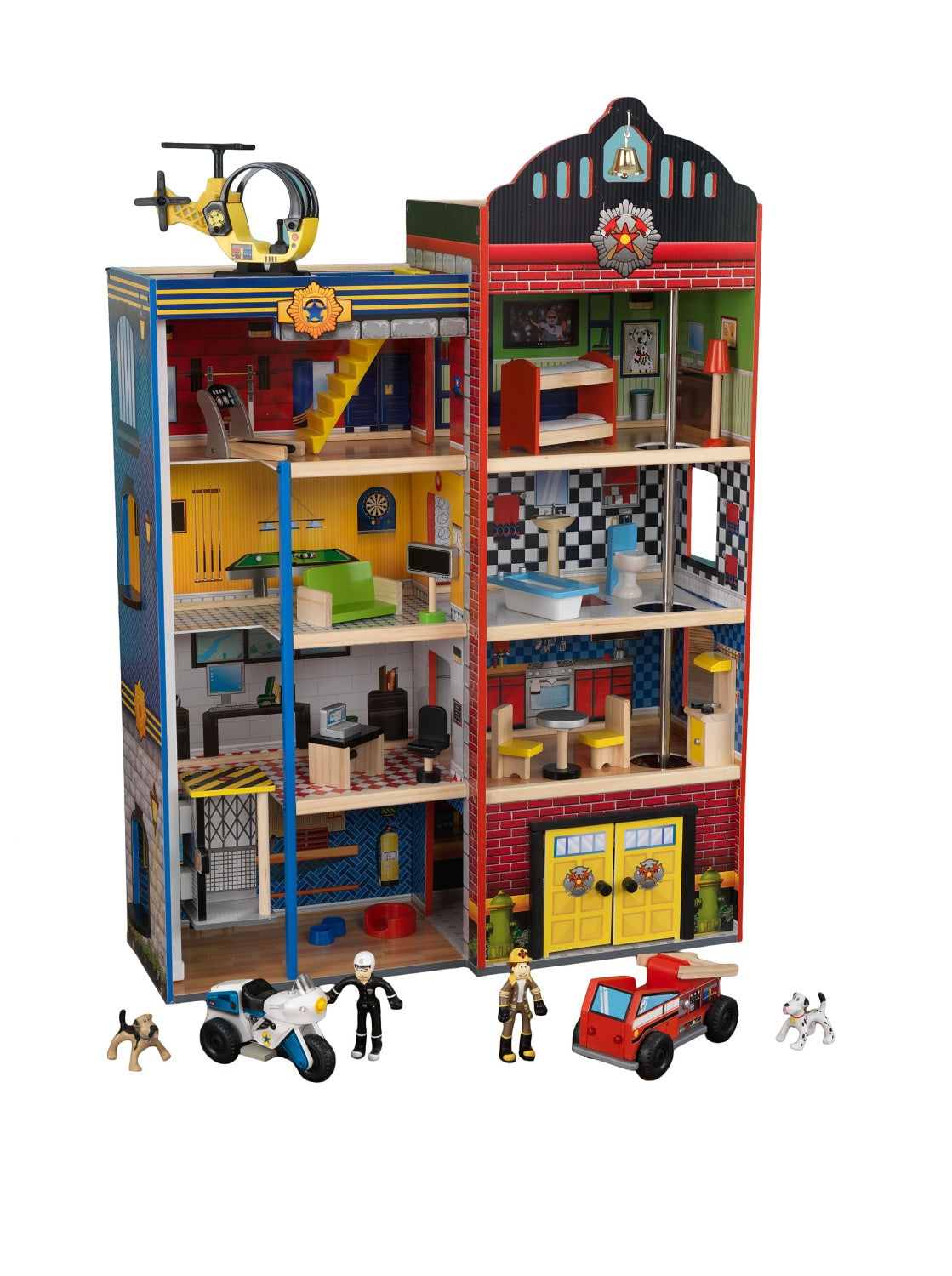 Hometown Heroes Wooden Play Set 24 Pieces, Makes Siren Sounds! Lights Up!