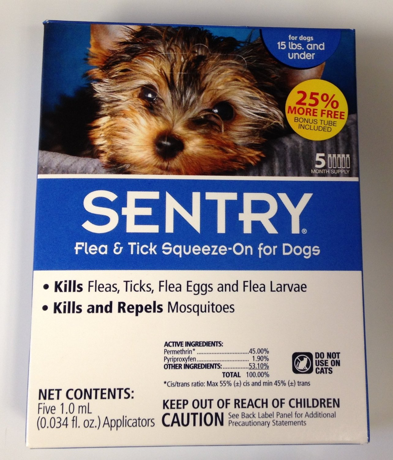 Sergeants Pet Care Product 5 Count Sentry Flea and Tick Squeeze-On Dog Drop, ...