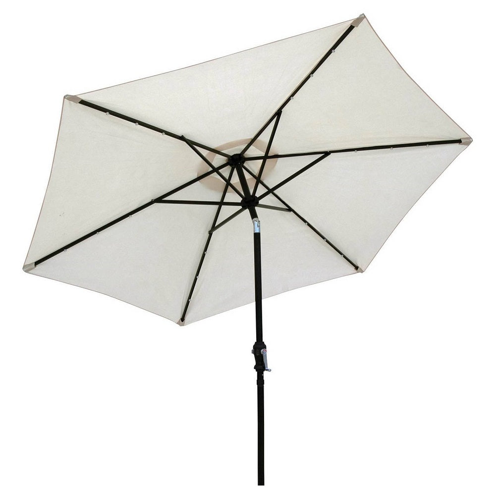 Sun-Ray 9' Solar Lighted Patio Umbrella, Buff Beige
