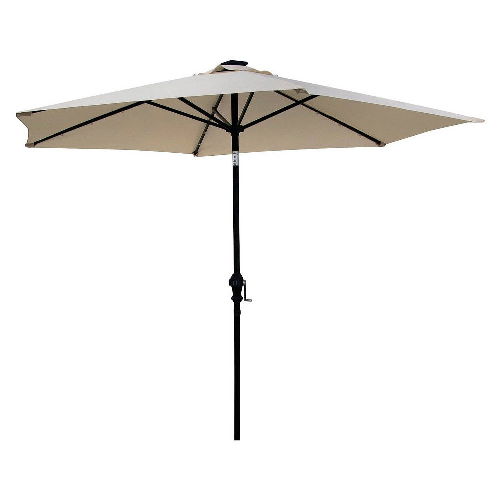 Sun-Ray 9' Solar Lighted Patio Umbrella, Cream