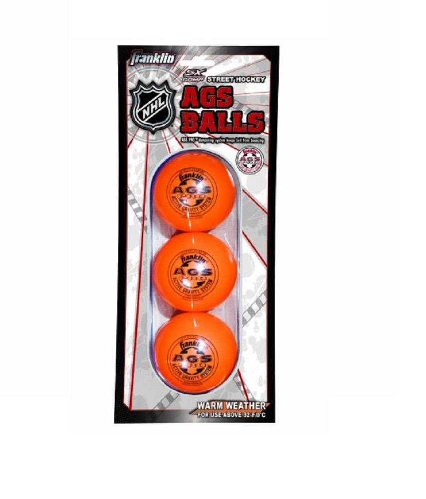 Franklin Sports NHL AGS Pro High Density Ball, Orange (3-Pack)