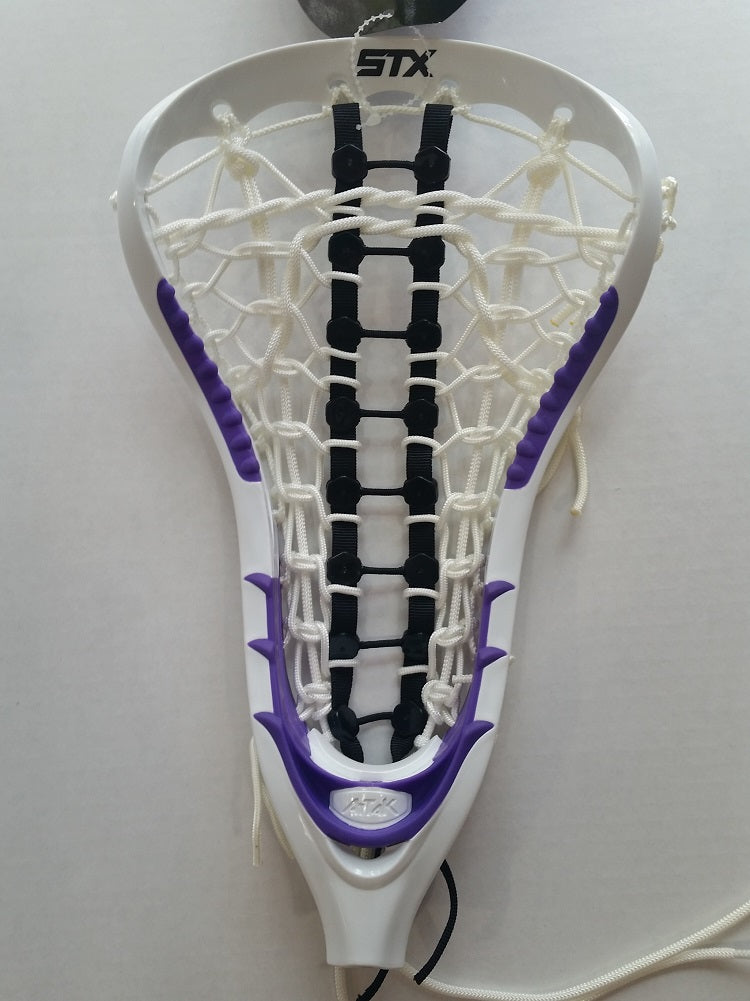 STX Women AtTaK Lacrosse Head Strung White Purple