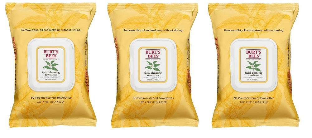 Burt's Bees Natural Skin Essentials Facial Cleansing Towelettes, 30 each (Pack of 3)