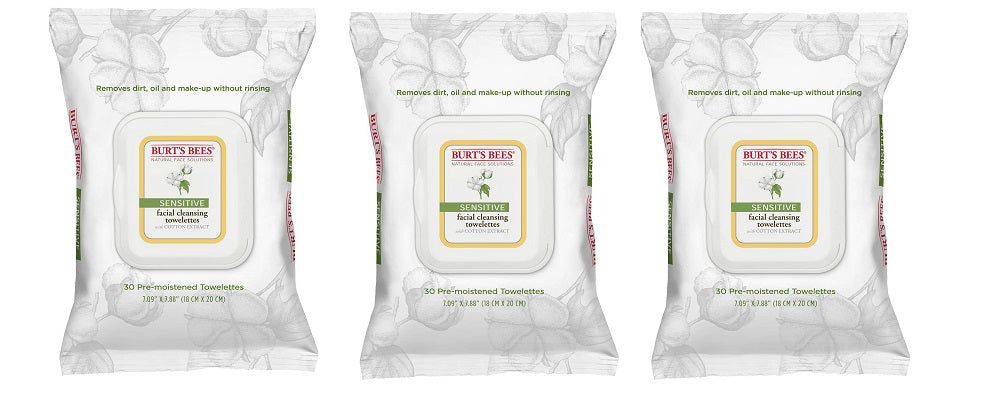 Burt's Bees Natural Sensitive Facial Cleansing Towelettes with Cotton Extract - 30 ct (3 Packs)