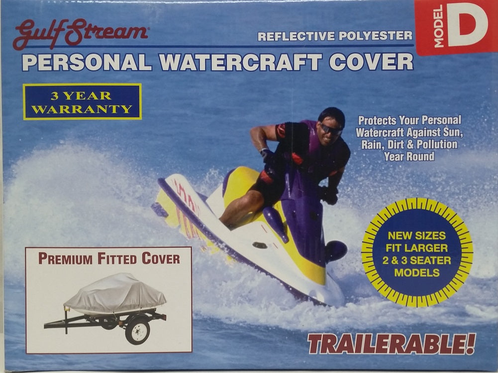 "Personal Watercraft Cover Fits 2 & 3 Seater Model D 124"" x 48"" x 42"" - Silver"