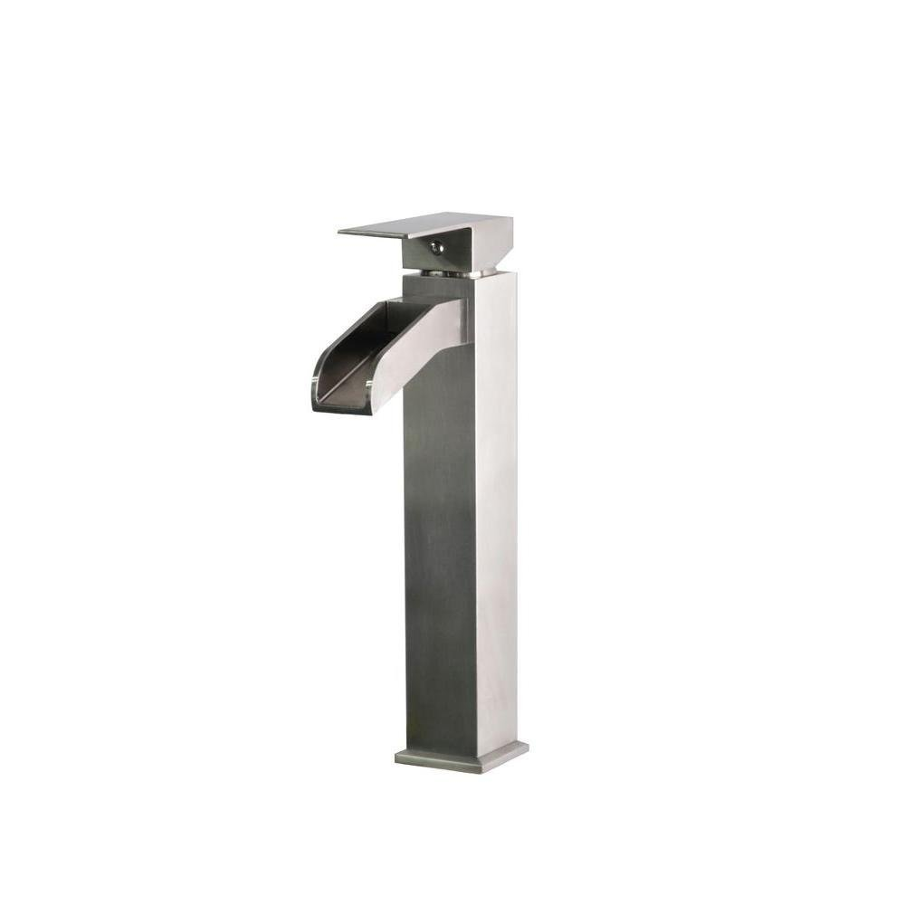 Belle Foret Single Hole 1-Handle High-Arc Bathroom Faucet in Stainless Steel