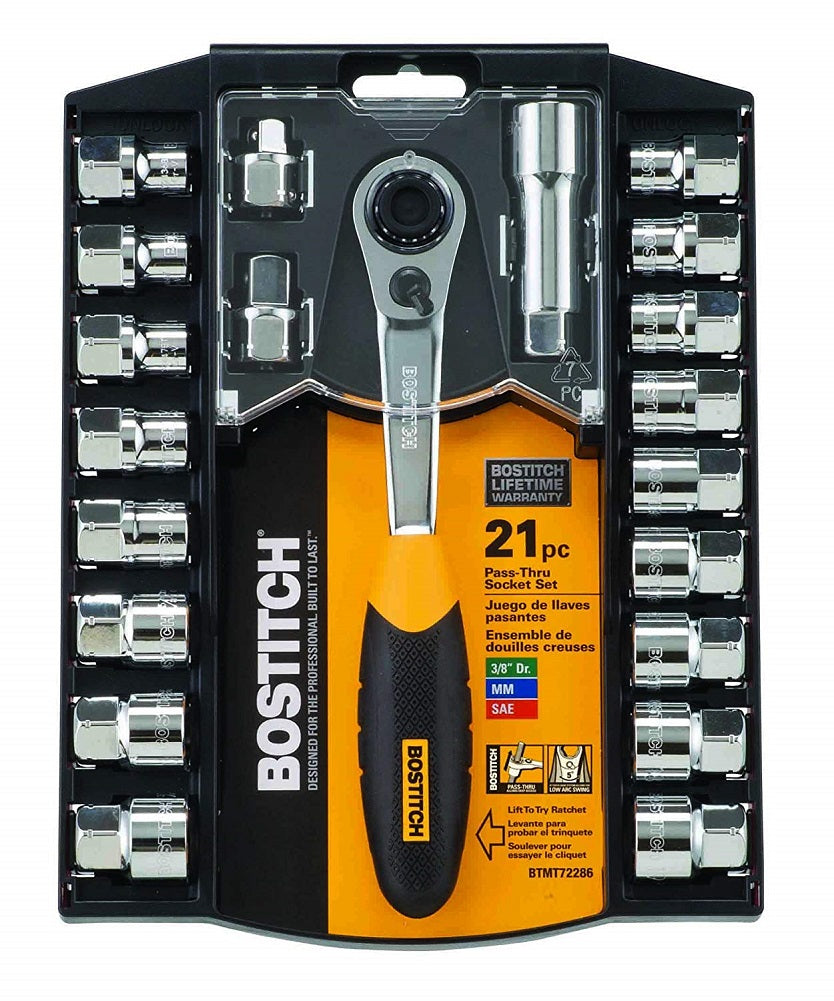 Bostitch 21-Piece 3/8-Inch Pass-Thru Socket Set