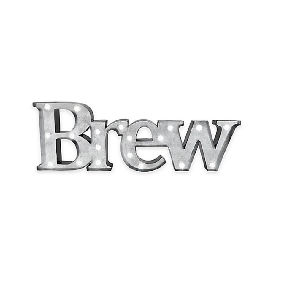 Metal LED BREW Illuminated Marquee Sign 7 5 In H x 23 In L