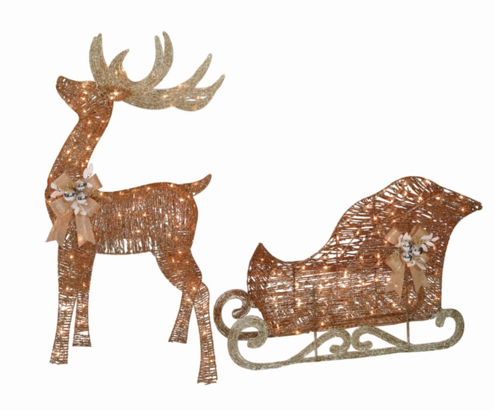 "Holiday Time Light-Up PVC Vine 52"" Buck and 42"" Sleigh"
