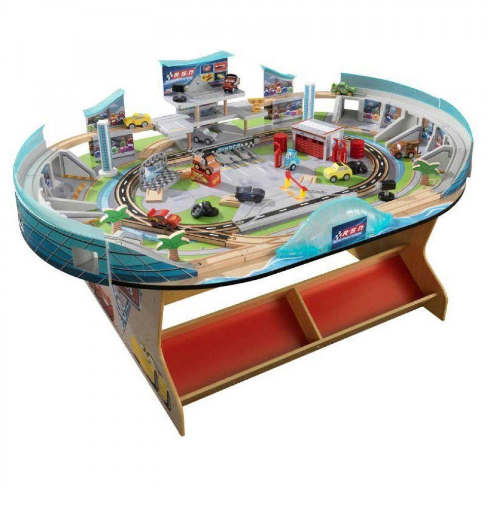 KidKraft Disney Pixar Cars 3 Florida Speedway Train Table Racetrack