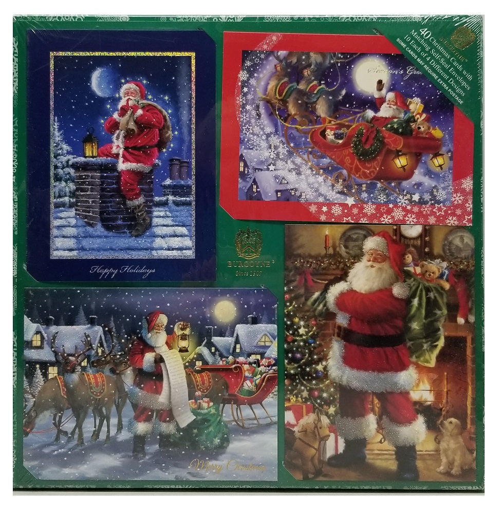 Burgoyne 40 Christmas Cards with Matching Self-Seal Envelopes Classic Santa Scene