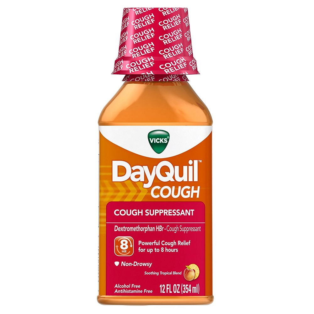 Vicks DayQuil Cough Soothing Tropical Blend Flavor Liquid, 12 Ounce