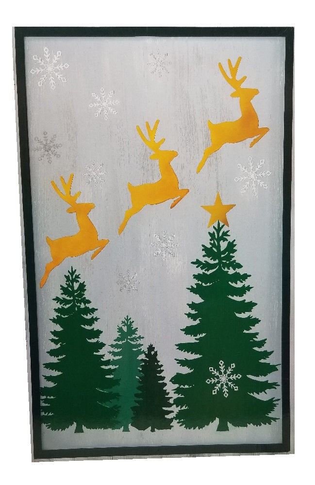 "Rustic Holiday Wall Hanging - Reindeer Prancing Over Christmas Trees 24"" x 36"""