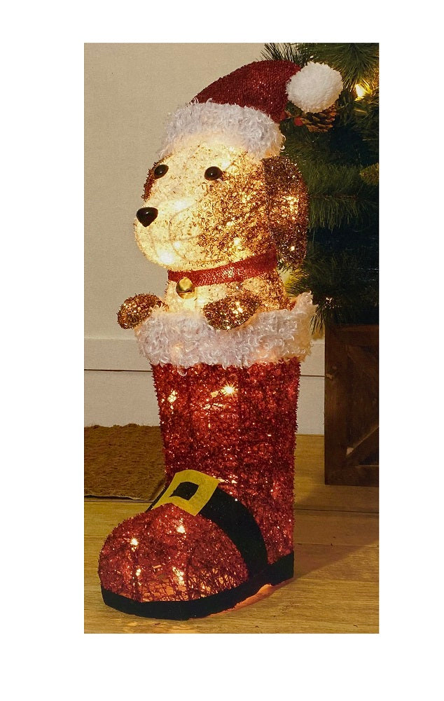 Holiday Time Light Up Dog In Boot 24 Inches Tall