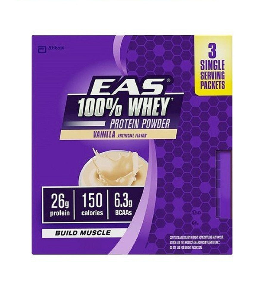 EAS 100% Whey Protein Powder Build Muscle, Vanilla, 3 - 1.4 OZ (Pack of 2)