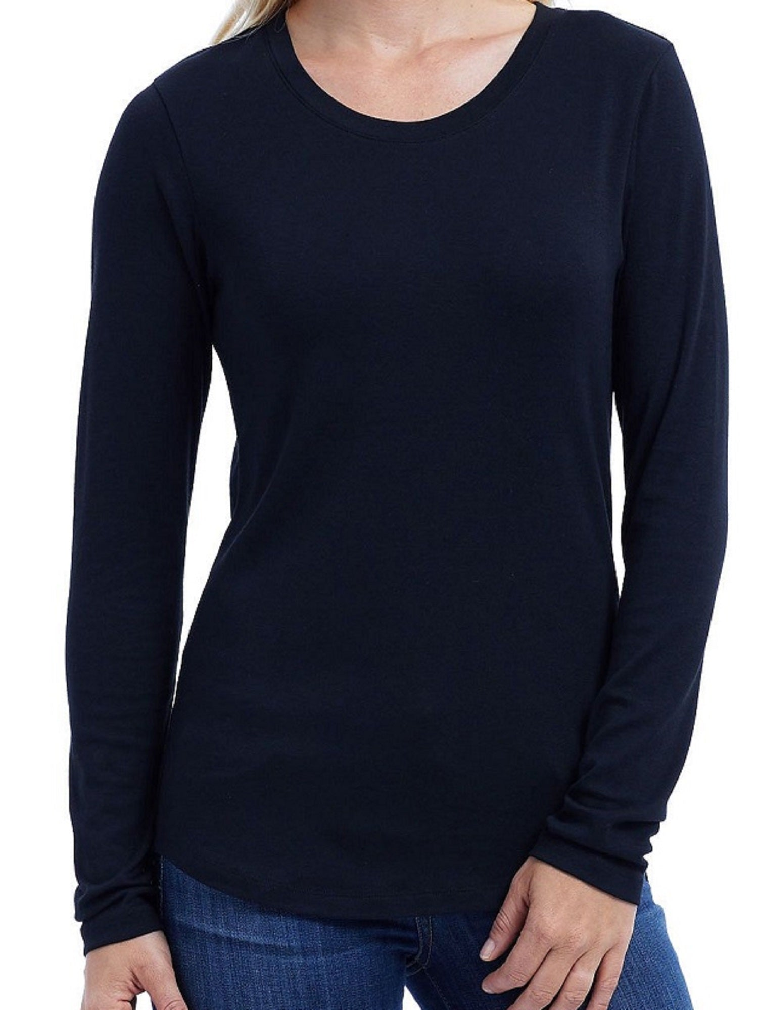 Eddie Bauer Women's Size Medium Scoop Neck Long Sleeve Tee, Black