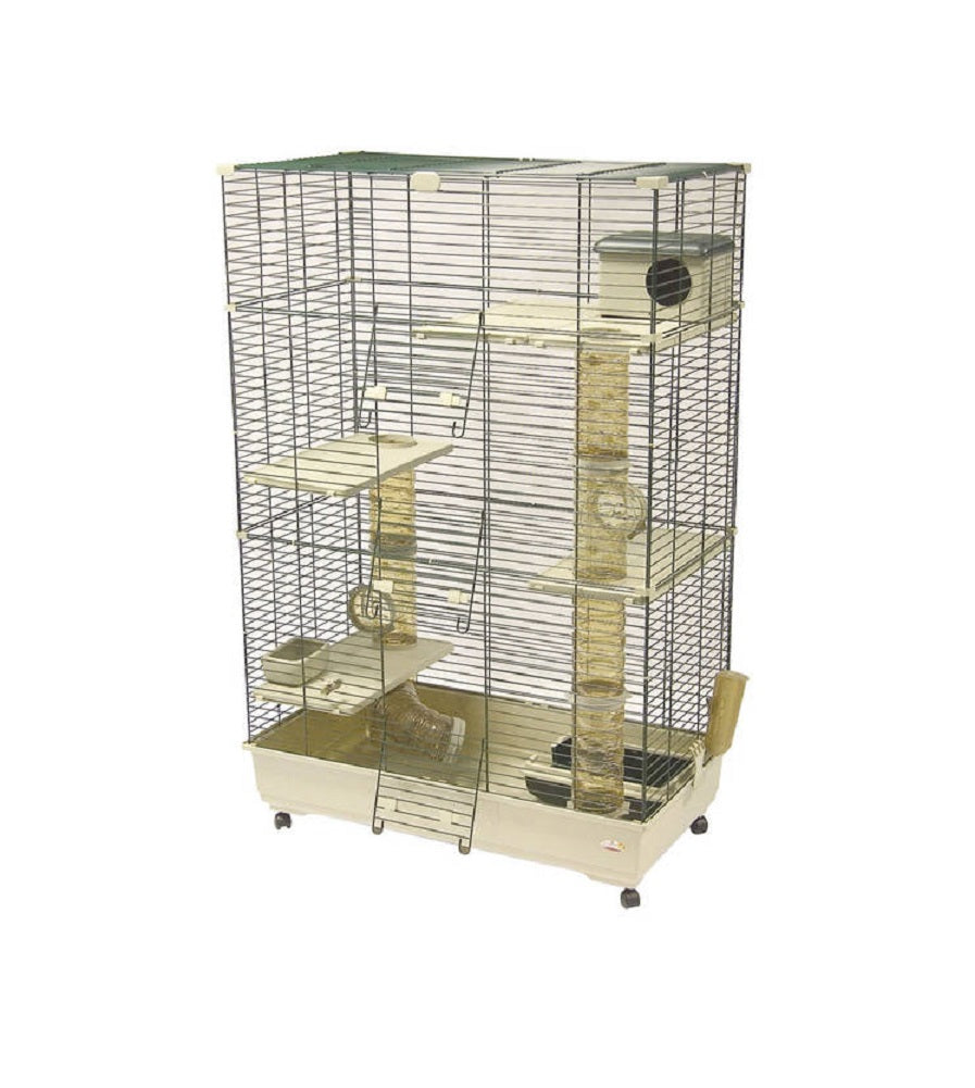 Marchioro Ferretville Multi-Level Cage for Small Animals with Wheels, Beige