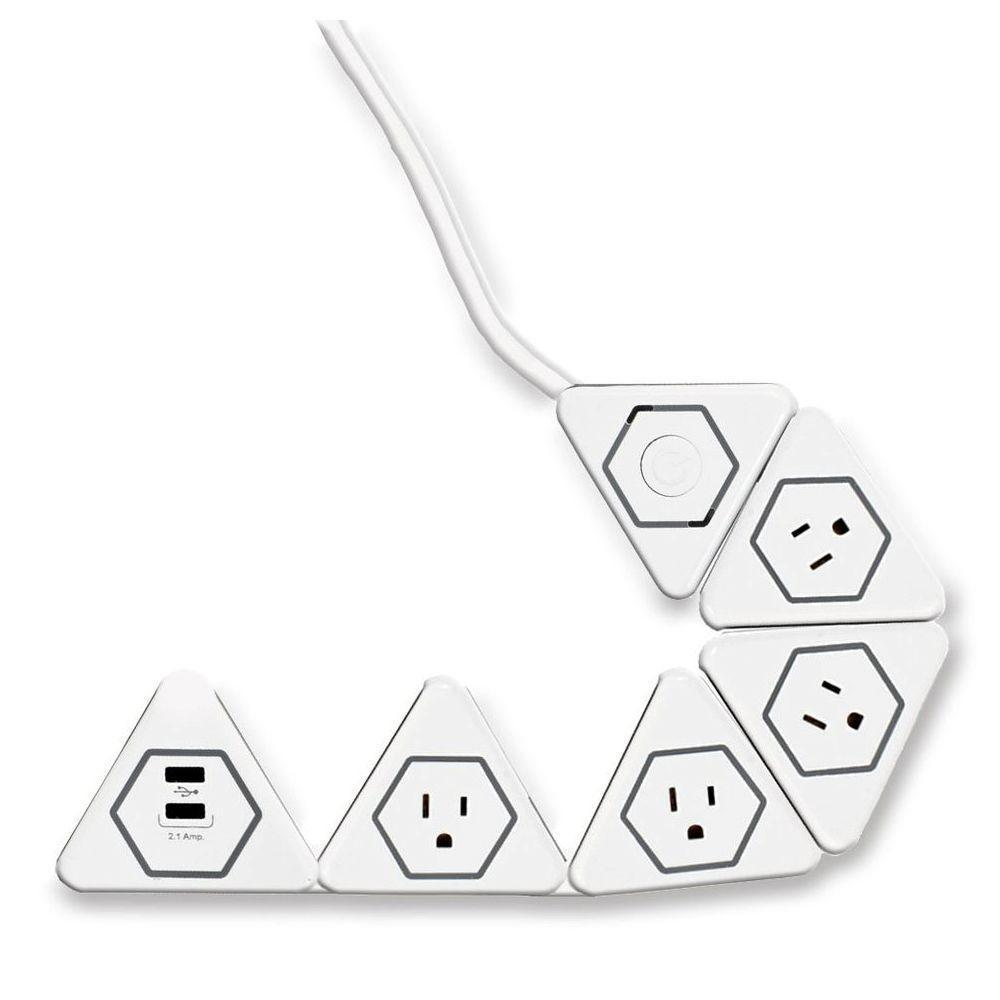 Globe Electric Surge Protected 4 Outlet Flexigon Power Strip 2 USB Ports, White