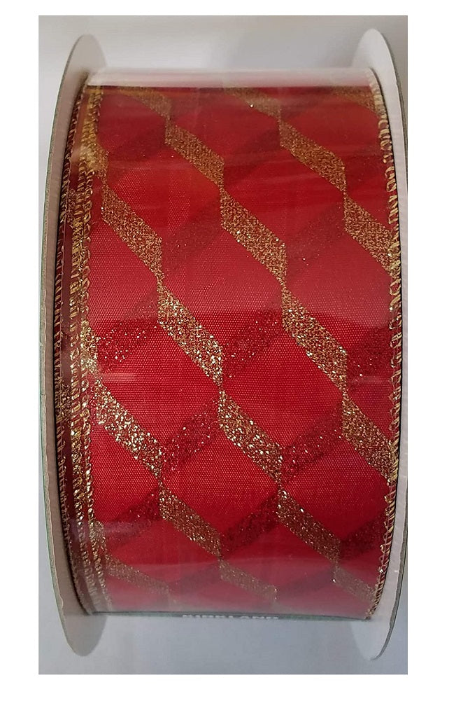 "Kirkland Signature Red and Gold Geometric Gold Wired Edge Premium Ribbon 2.5"" Wide by 50 Yards"
