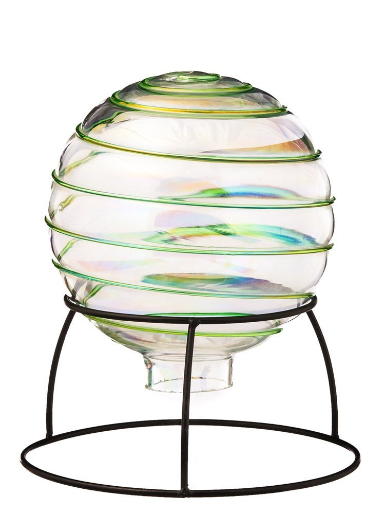 Hand Blown Swirl Table Top Grazing Ball with Stand, Green