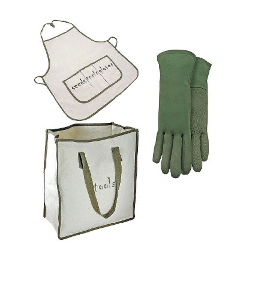 Naturally Green Bamboo Gloves, Tote Bag & Full Apron