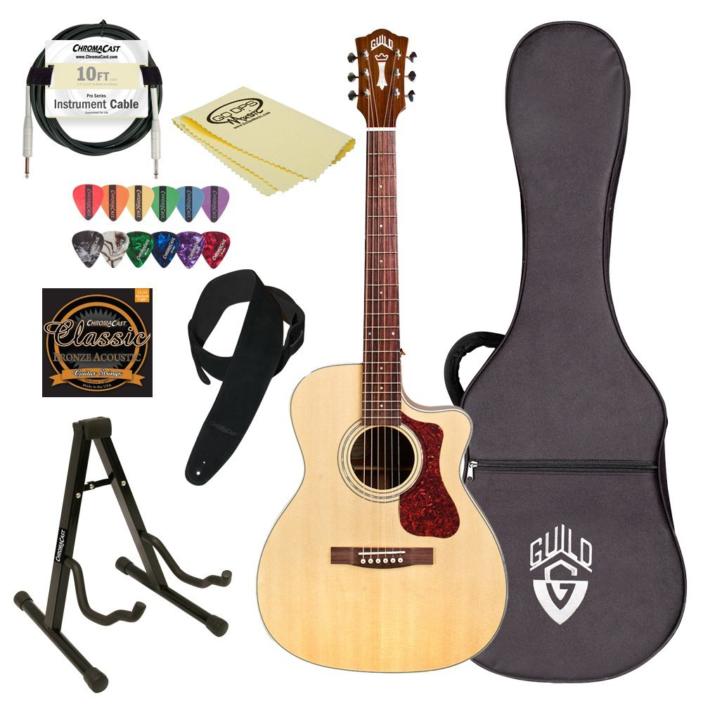 Guild OM-140CE NAT-KIT-2 Natural Orchestra-Style Acoustic Electric Guitar