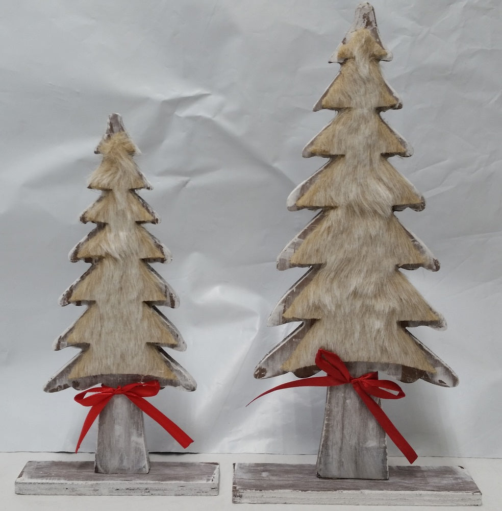 Dennis Basso Faux Fur Trimmed Wooden Tree Holiday Decor (2-Pack)